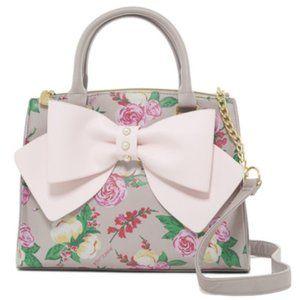 Betsey Johnson Bow Zip Satchel Grey Blush Floral